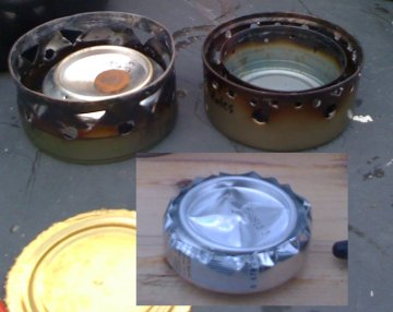showing Liver Can Stove along with penny stove, sitting on recycled can pot holder (similar to Cat Can Stove)