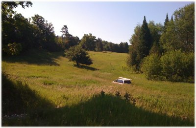 van in meadow nature sunny day