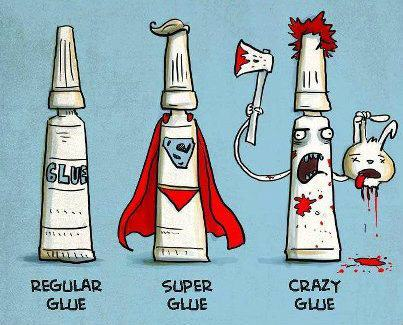 drawings of, Different Types of glue normal, super and crazy